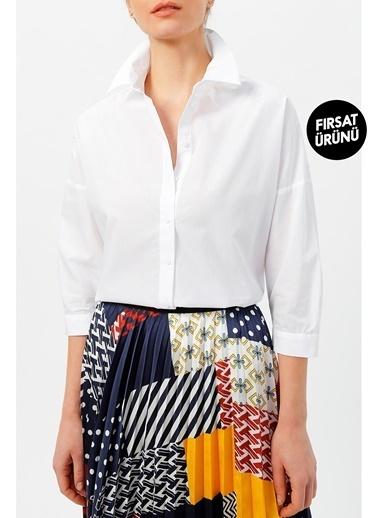 Random Kadın Truvakar Kol Gömlek Beyaz